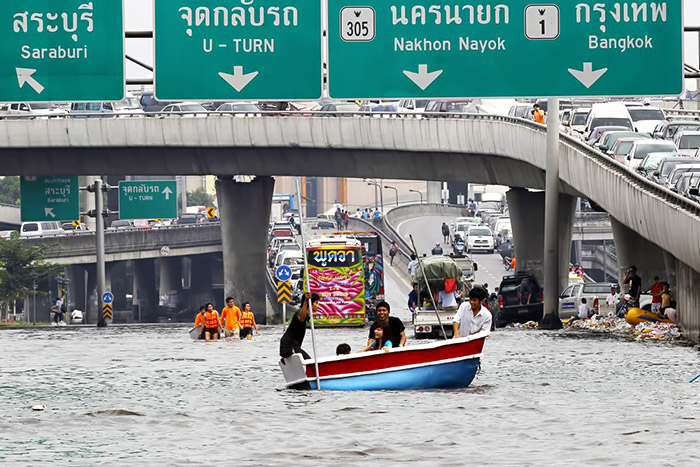 Flooded roads Bangkok Thailand 2011
