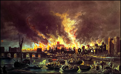 painting of the great fire of London in 1866